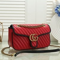 GUCCI Women Shopping Leather Metal Chain Crossbody Satchel Shoulder Bag red