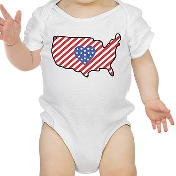 USA Map Cute 4th Of July Decorative Cute Baby Bodysuit New Mom Gifts