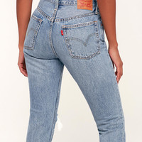 501 Skinny Distressed Light Wash Jeans