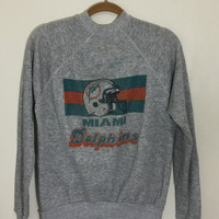 Vintage 1990s paper Thin MIAMI DOLPHINS Tiny Fit Heather Gray Grey Long sleeved sweatshirt