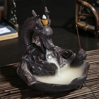 Ceramic Dragon Incense Burner for Smoke Backflow Like Water Streaming Down Art Craft Incense Cone Furnace Home Decor+ 10 Cones