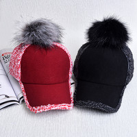 Women's Winter Hats Warm Baseball Caps With Peaked Fashion Pompoms Snapback Thermal Outdoor Golf Dad Hat For Women