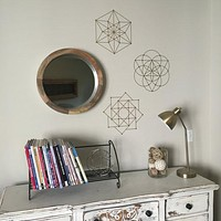 Sacred Geometry 3 Vinyl Wall Decals in Metallic Gold, Silver and other colors