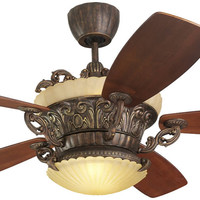 """0-001376>Strasburg 56"""" 5-Blade Ceiling Fan with Remote/Uplight Tuscan Bronze"""
