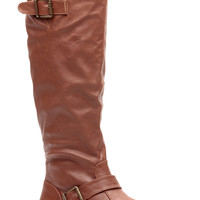 Chestnut Faux Leather Rider Chic Calf Length Boots