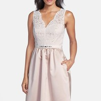 Women's After Six Embellished Lace Contrast Satin Fit & Flare Dress,