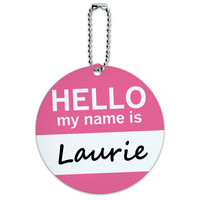 Laurie Hello My Name Is Round ID Card Luggage Tag