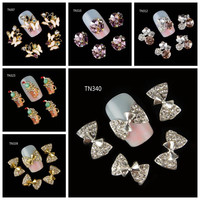 10Pcs Pack(1pack=1style)3D Nail Decorations Luxury Butterfly Bow Beverages Beer Cup DIY Glitter Rhinestones For Nails Art Tools