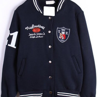 Royal Blue Patch Embroidered Striped Long Sleeve Jacket