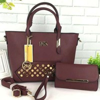 MK Women Shopping Leather Handbag Tote Satchel Shoulder Bag Burgundy