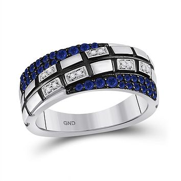 14k White Gold Round Blue Sapphire Diamond Band Ring 5/8 Cttw