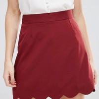 ASOS PETITE A-Line Mini Skirt with Scallop Hem