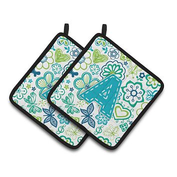 Letter A Flowers and Butterflies Teal Blue Pair of Pot Holders CJ2006-APTHD