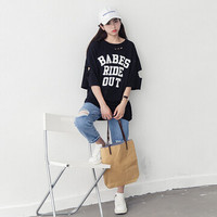 All-match tshirts Cotton  BF Street Style Holes Letters Printed Midi T Shirts Half Sleeved Oversized Dress Tops