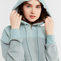 Out From Under Mixed Media Thermal Hoodie Sweatshirt | Urban Outfitters