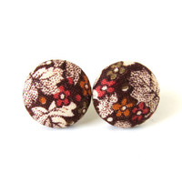 Brown floral fabric earrings  - tiny button earrings - small stud earrings vintage style leaf - fall autumn