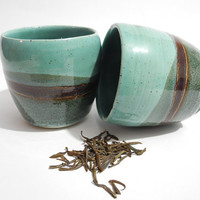 Ceramic Tea Bowls, Chinese Style Tea Cups,  Handmade Ceramic Cups, Beakers in Teal Turquoise and Brown