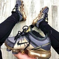 Bunchsun Nike AIR VAPORMAX Fashion Woman Men Casual Air Cushion Sport Running Sneakers Shoes Grey&Golden