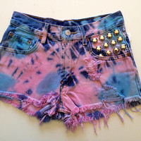 Vintage Studded Cotton Candy Dyed Jean Shorts