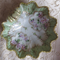 Pale Green and Purple Small China Bowl/Dish.  Candy Dish, Ring Bowl, Leaf Shaped