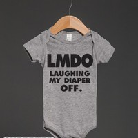 LMDO Laughing My Diaper Off-Unisex Heather Grey Baby Onesuit