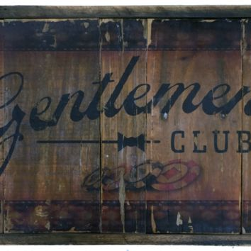 Gentlemen's Club vintage style sign with card theme