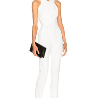 Roland Mouret Saxby Stretch Viscose Jumpsuit in White   FWRD