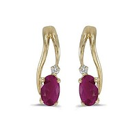 14K Yellow Gold Oval Ruby and Diamond Wave Earrings