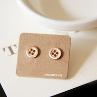 Tiny Button Studs, Stud Post, RoseGold Plated Minimal Stud Earrings, Tiny Stud, Character Stud, Holiday Gifts, Holiday Jewelry