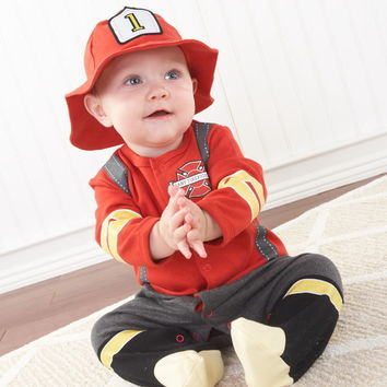 """Baby Aspen BA16010FF """"Big Dreamzzz"""" Baby Firefighter Two-Piece Layette Set in Firefighter-themed Gift Box"""