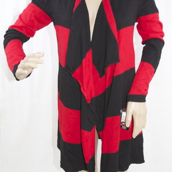 Red and Black Striped Drape Cardigan