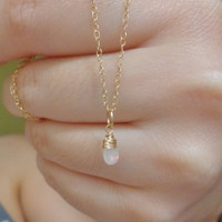 Wire Wrapped Ethiopian Welo Opal Necklace 14K Gold Filled October Birthstone Dainty Necklace
