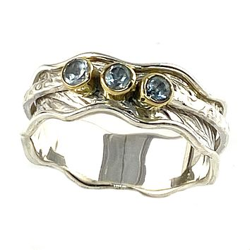 Spinner Ring - Two Tone Three Stone Blue Topaz Ring