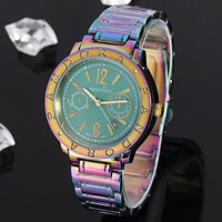 Pandora New fashion letter round shell multicolor watchband couple watch