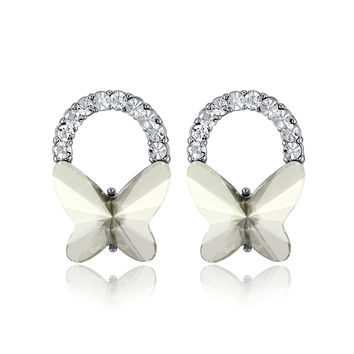 Butterfly Bow Swarovski Elements Crystal Stud Earrings - Clear