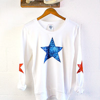 Fourth of July Sequin Star Sweatshirt with Sequin Star Elbow Patches