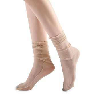 Diamond Sheer Crew Sock | Beige