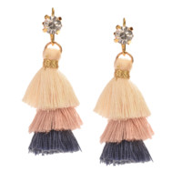CREAM BLUSH BLUE TINY TIERED TASSEL EARRINGS