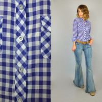 Vtg 1980s western GINGHAM bohemian navy + white checkered Sir x James BUTTON-UP blouse shirt, small-large