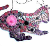 Mosaic Art Pink and Purple Cat Wall Hanging Home Decor. Made w/Glass Tiles, Stained Glass, Mirror and Pink Geode. Great Animal Lover gift!