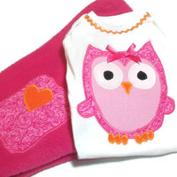 Baby Girl Winter Clothes - Owl Clothes for Baby - Size 0 -3  Month Baby Girl - Fleece Pants and appliqued Owl Bodysuit