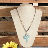 Jeweled Cactus Turquoise and Silver Necklace