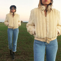 Vintage 1970's CROPPED Faux Fur Glam Bomber Jacket    Cream White    Size S