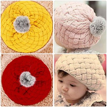 Winter Warm Baby Hat Soft Crochet Knitted Beanie Caps Cute Rabbit Faux Fur Gorros Infant Toddler Beret Hats Ball Cap Photo Props
