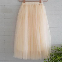 2017 New Fashion Summer Women Sexy Long Chiffon one Size Candy Color 3 Layer Pleated Skirts Solid Mesh Skater Skirt