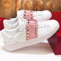 Valentino Popular Women Leather Rivet Sneakers Sport Shoes White&Pink