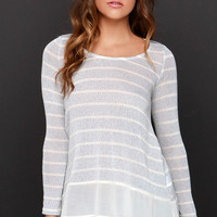 Frost at Sea Striped Blue Sweater Top