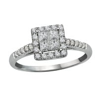 Classic Princess Halo Look of Love Diamond Engagement Ring Steven Singer Jewelers