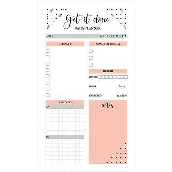 """Get It Done Daily Planner Large Notepad   To-Do, Goals, Schedule, Health   5.25"""" x 9.50"""""""