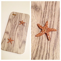 Beach Bum White Wash Wood Case with Starfish by LivingYoungDesigns